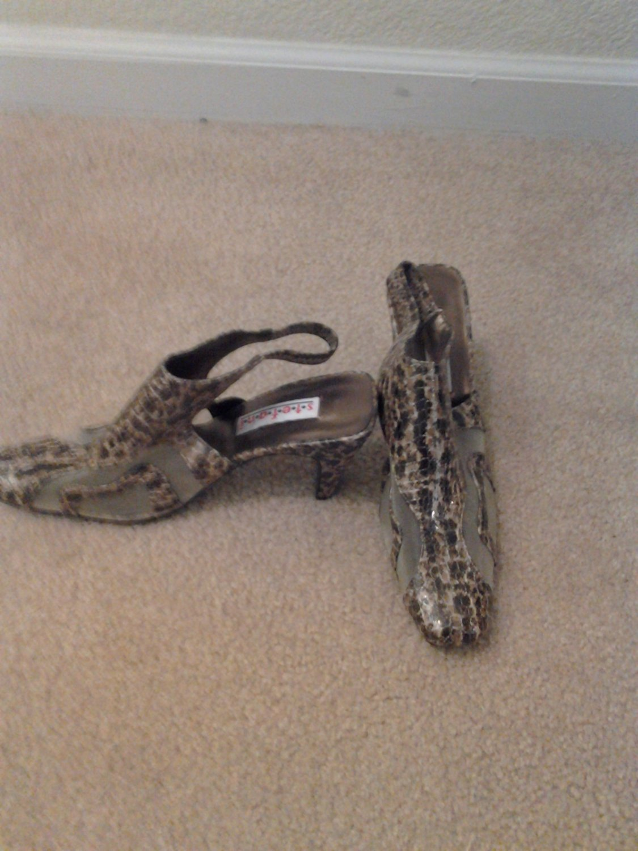 Brand New Brown Mesh Animal Print SlingBack Shoes