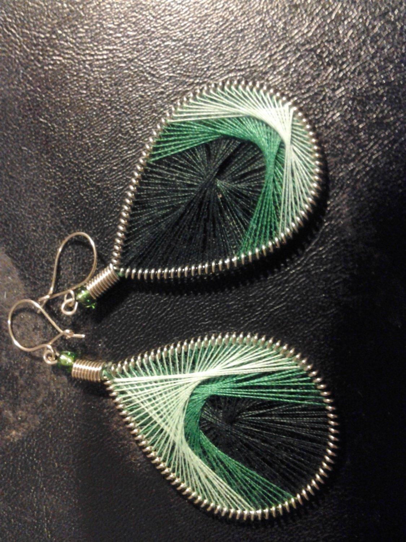 Small Brand New Dangled Green Thread Earrings