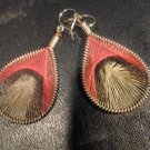 Small Brand New Red And Brown Dangled Thread Earrings