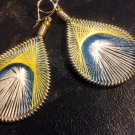 Small Brand New Yellow,White And Blue Dangled Thread Earrings