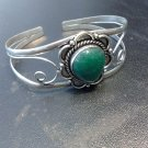 Brand New Beautiful Silver Cuff Bracelet With A Dark Green Stone