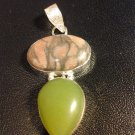Brand New Beautiful 2 Inch Brown And Green Stoned Pendant