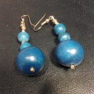 Brand New Beautiful Three Wooden Ball Dangled Blue Earrings
