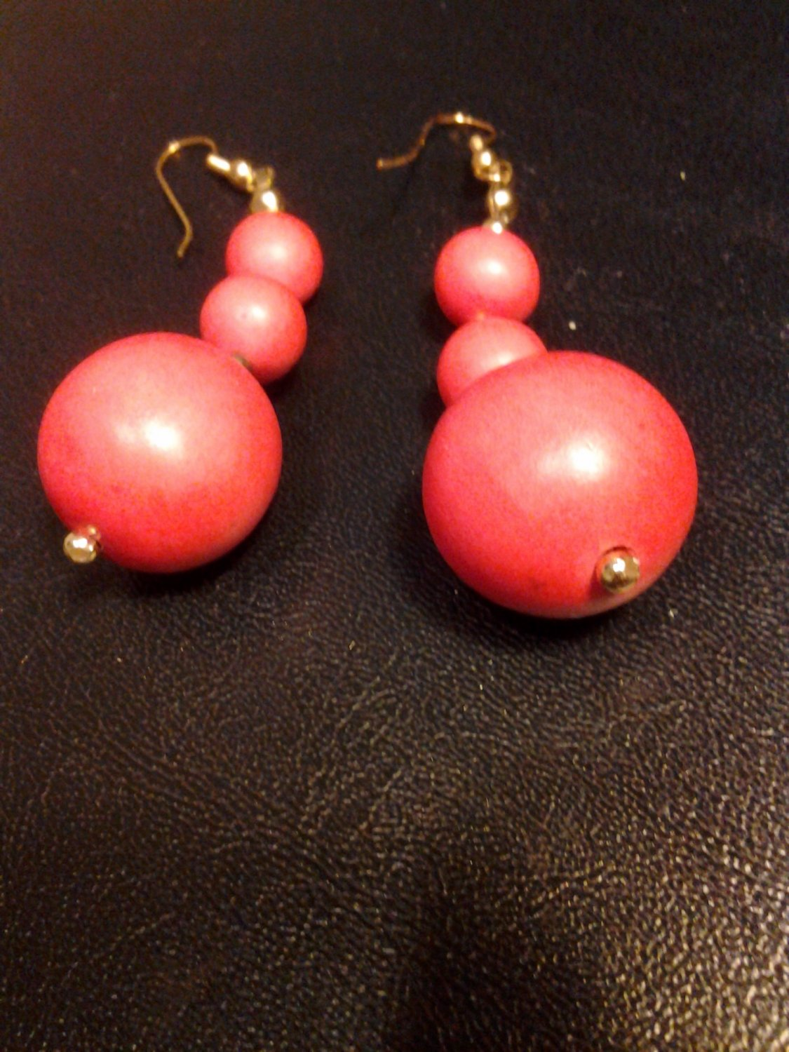 Brand New Beautiful Three Wooden Ball Red Dangled Earrings
