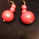 Brand New Beautiful Three Wooden Ball Red Dangled Earrings