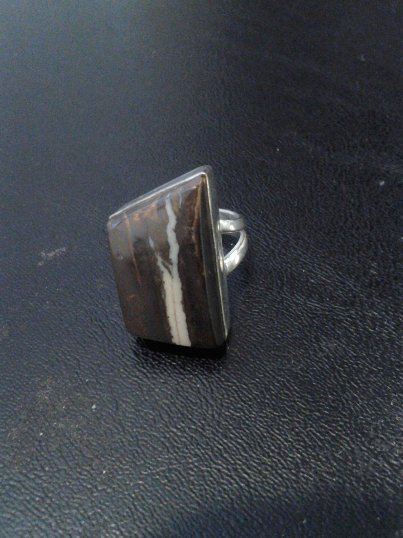 Brand New Unique Brown W/Green Striped SIlver Ring SZ 8