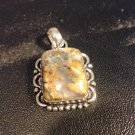 Brand New Beautiful Vintage Earth Tone Silver Pendant
