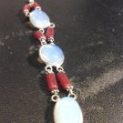 Brand New Beautiful Eloquent Burgundy And Opal Silver 7 Inch Bracelet