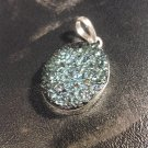 Brand New Beautiful Bumpy Green Silver Round Pendant