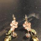 Brand New Beautiful Unique Peach Flower  Dangled Earrings