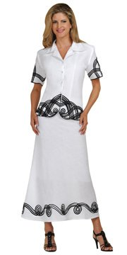 Brand New Linen White With Black 2- Piece Casual Dress Event Suit