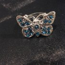 Brand New Beautiful Blue Butterfly Adjustable Silver ring