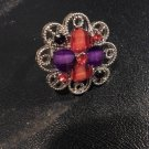 Brand New Beautiful Plaid Red And Purple Adustable Silver Rings