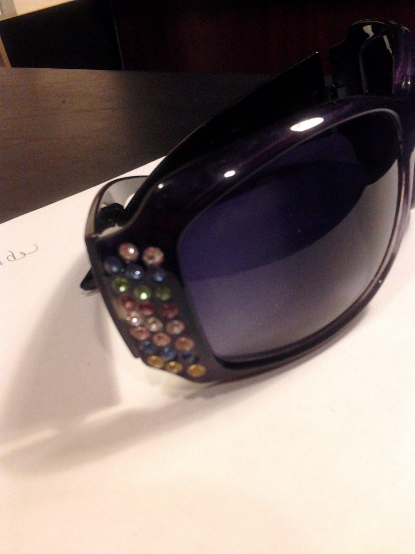 Brand New Beautiful Purple UV Multi Bling Jewel Color Sunglasses