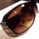 Brand New Beautiful Brown UV Multi Bling Jewel Sunglasses
