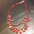 Brand New Beautiful Red Double Strand Bead Necklace