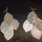 Brand New Beautiful Gold Dangle Leaf Earrings