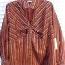 Brand New  Women's Earthtone Striped Long Sleeve Blouse