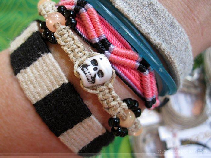 Hemp Bracelet Kit : Skull with Orange Glow in the Dark Beads - Party Favor [1]