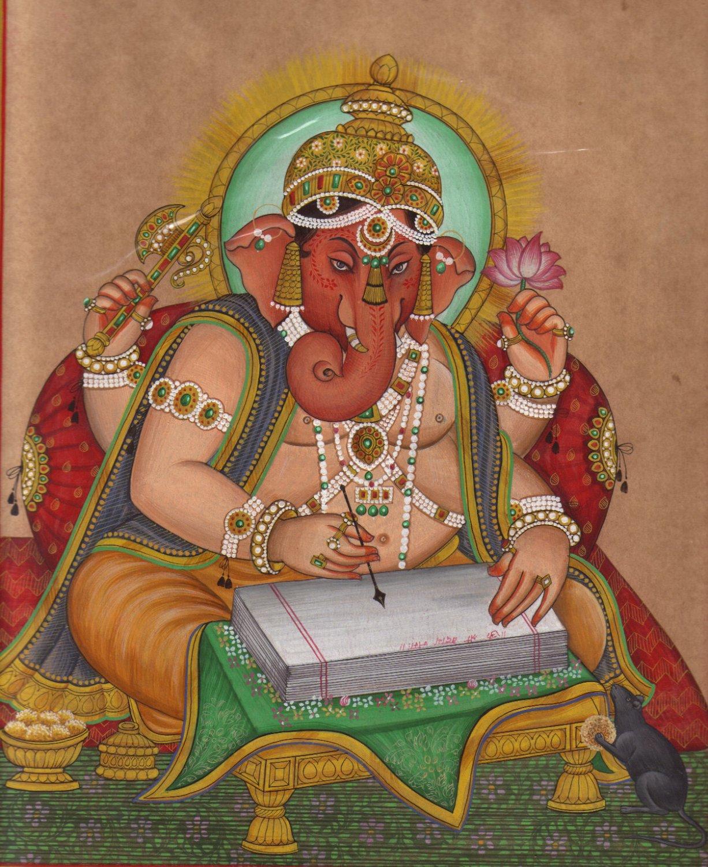 Ganesh Ganesha Indian Miniature Painting HANDMADE India Hindu Religion Paper Art