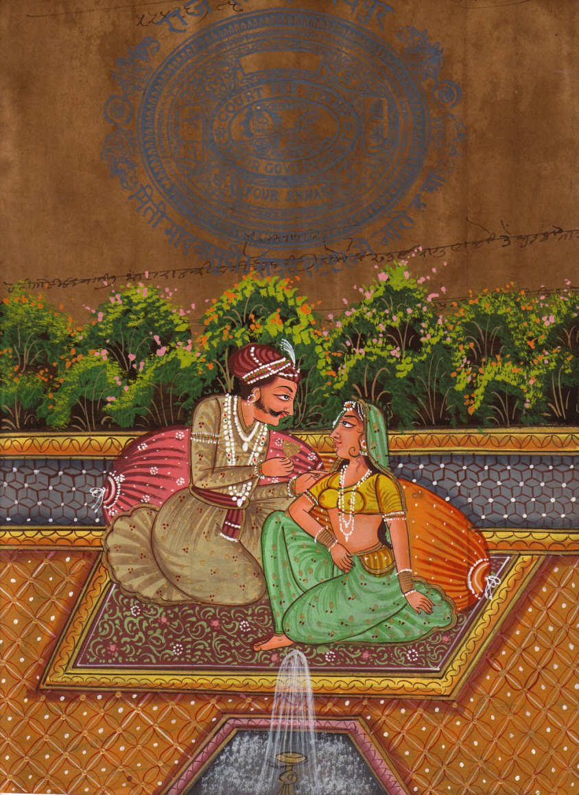 Moghul Mughal Miniature HANDMADE Erotic Harem Painting old royal stamp paper Art