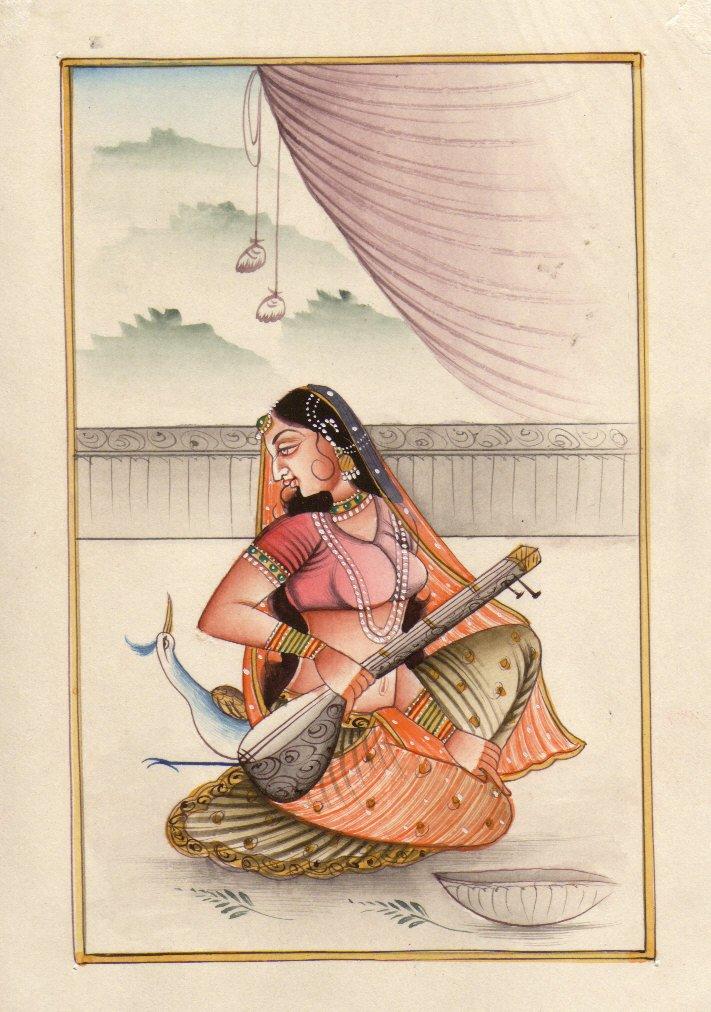 Ragamala Ragini Indian Miniature Painting Rajasthan Rajput Ethnic HANDMADE Folk Paper Art