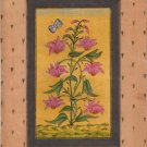 Mughal Floral Flower Miniature Painting Moghul Indian Handmade Watercolor Art
