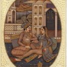 Mughal Moghul Miniature Indian Painting Faux Ivory Art