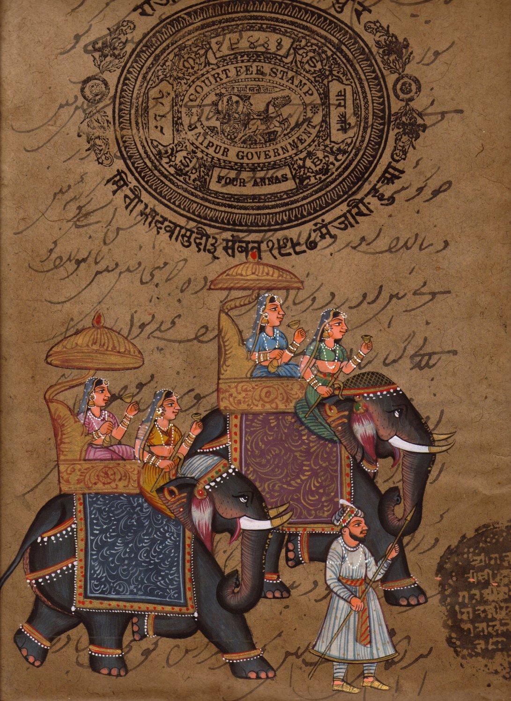 Indian Rajasthani Painting Handmade Queen Elephant Miniature Ethnic Folk Art