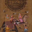 INDIA RAJASTHAN ART Rajput Maharani Old Royal Stamp Paper HANDMADE Folk Painting