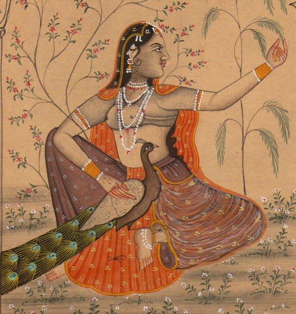 A leaf with two Ragamala illustrations: Malasri Ragini