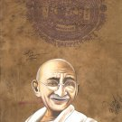 Mahatma Gandhi Art Handmade Indian Miniature Old Stamp Paper Portrait Painting