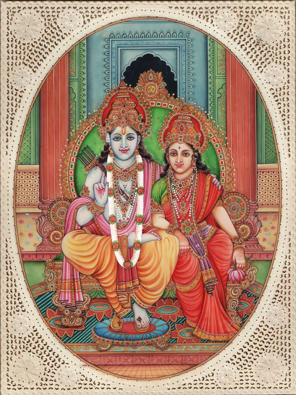Rama Sita Ramayana Painting Handmade Indian Hindu Religion Watercolor Ethnic Art