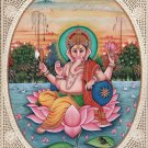 Lord Ganesha Indian Hindu Miniature Painting Handmade Religious Watercolor Art