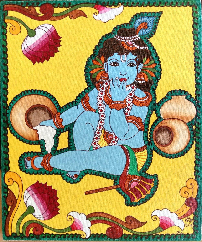 Kerala Mural Kanna Krishna Painting Handmade South Indian Hindu Ethnic Folk Art