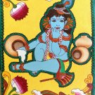 Kerala Mural Kanna Krishna Painting Handmade South Indian Hindu Ethnic Folk Art
