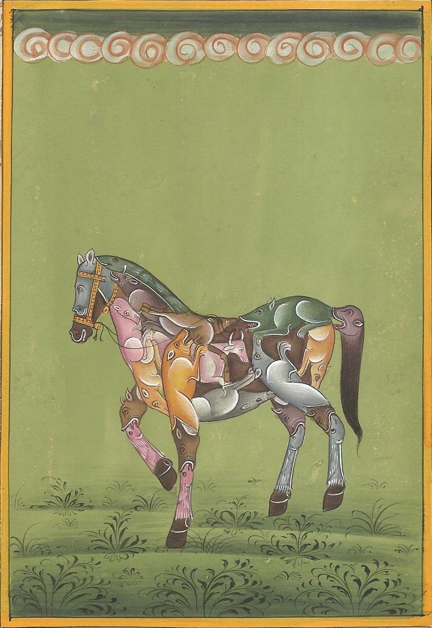 Composite Horse Painting Handmade Indian Watercolor Ethnic Miniature Animal Art