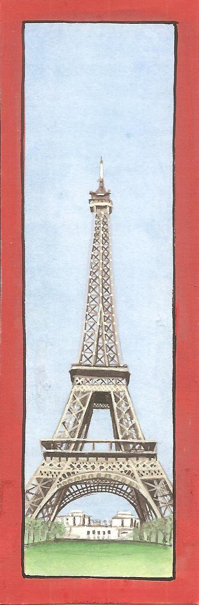 India Miniature Painting Paris Eiffel Tower Handmade Landmark Watercolor Artwork