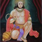 Hanuman Art Handmade Indian Miniature Hindu Ramayana Epic Oil Canvas Painting
