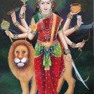 Durga Devi Hindu Goddess Painting Handmade Indian Religion Spiritual Folk Art