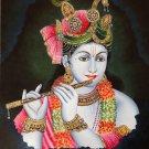Krishna Painting Handmade Indian Hindu Deity Portrait Oil on Canvas Decor Art