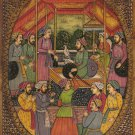 Mughal Painting Handmade Antique Finish Watercolor Moghul Miniature Durbar Art