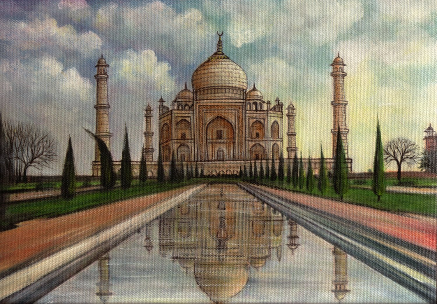 Taj mahal art handmade indian wonder of world mogul for Archaeological monuments in india mural paintings