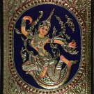 Tanjore Indonesian Sita Painting Handmade South Indian Thanjavur Gold Relief Art