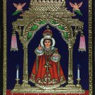 Tanjore Infant Jesus of Prague Painting Handmade Indian Thanjavur Christian Art