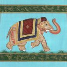 Indian Elephant Miniature Animal Painting Handmade Watercolor Ethnic Silk Art