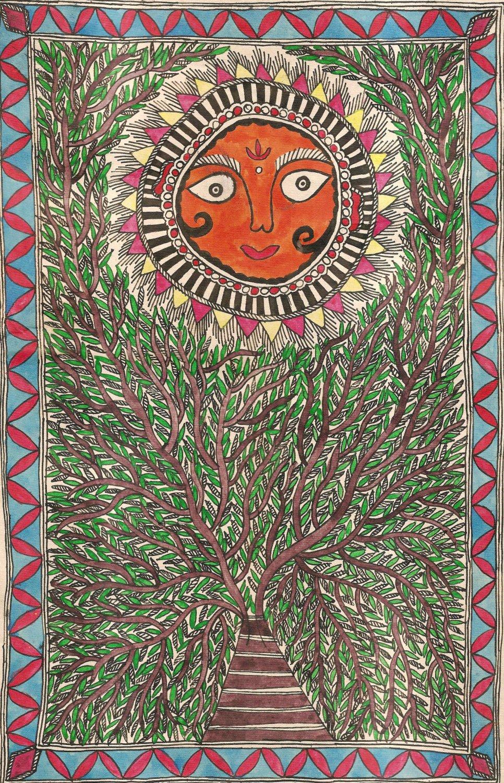 Madhubani Handmade Art Mithila India Nepal Miniature Folk Ethnic Surya Painting