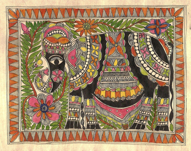 Madhubani Indian Tribal Folk Art Handmade Mithila Bihar Ethnic Elephant Painting