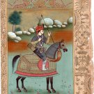 Mughal Miniature Painting Rare Handmade Timur Equestrian Book Leaf Tamerlane Art