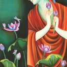 Buddha Art Handmade Indian Buddhist Oil on Canvas Buddhism Wall Decor Painting